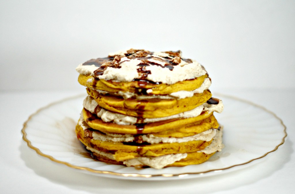 Pumpkin Pie Pancake Cake w/ Pumpkin Whipped Cream via www.cleverpinkpirate.com