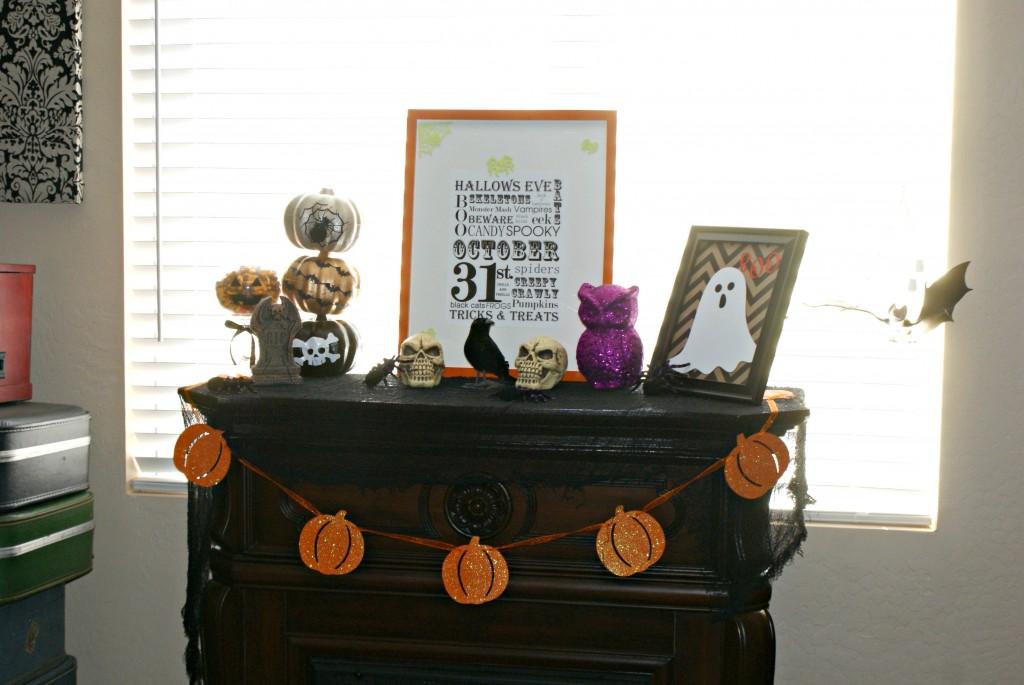 Halloween Mantel w/ Subway Art and Dollar Store Decor