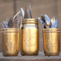 DIY: Gold Painted Silverware Mason Jars