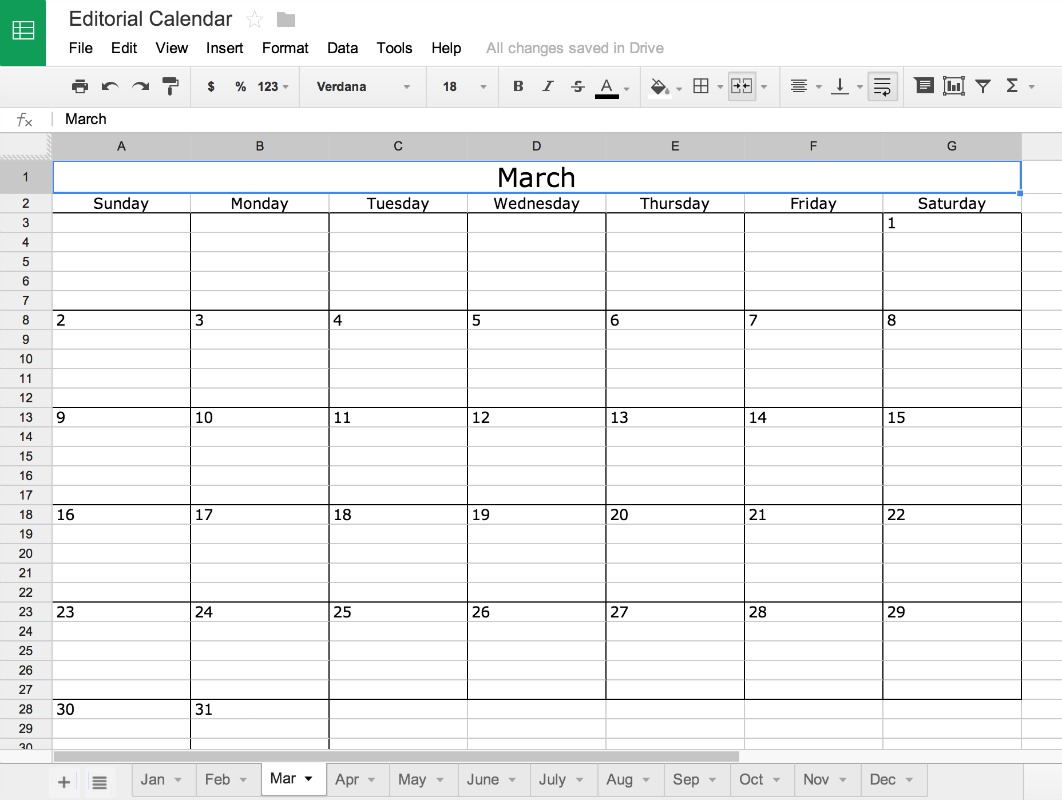 Google Doc Editorial Calendar for the blog