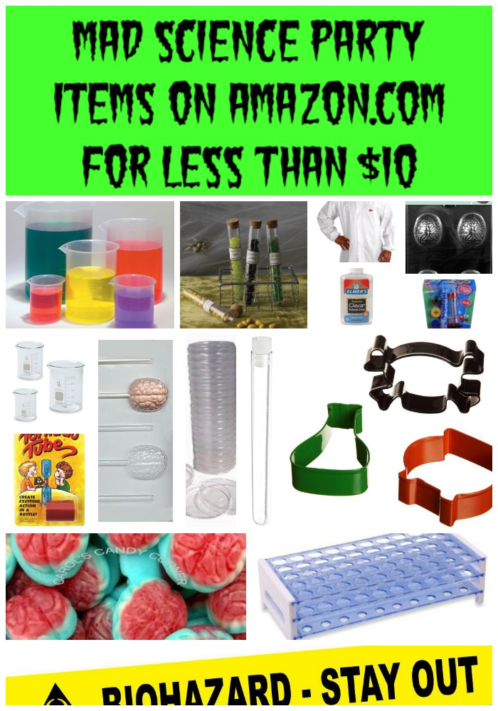 Find all of these things for a mad science party under $10 on Amazon