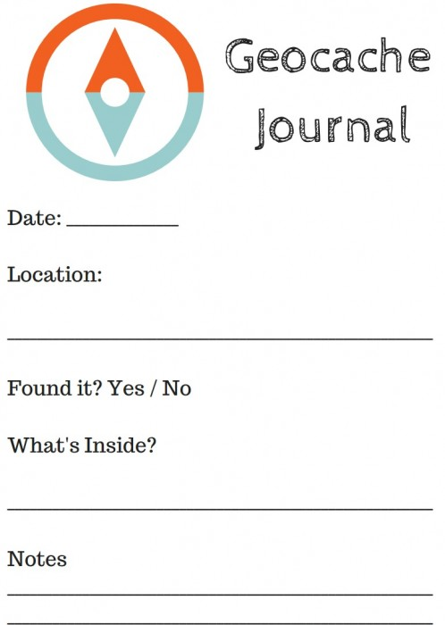 Geocache printable journal for kids. Print multiple pages to start a scrapbook of your geocaching adventures!
