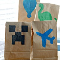 Stenciled Lunch Bags for Kids