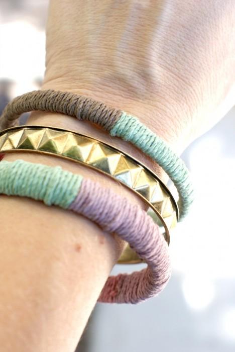 Easy! DIY Hemp Bangle Bracelets.
