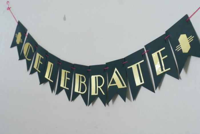 Roarin' 20's Birthday Party Celebrate Banner made from Cricut