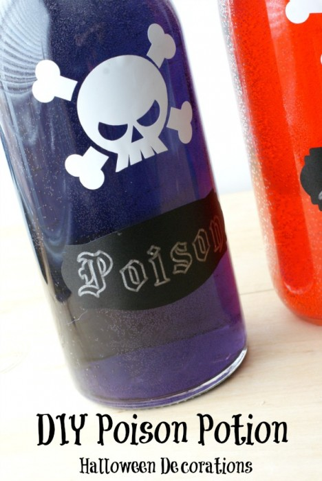 DIY Halloween Poison Bottle Decorations