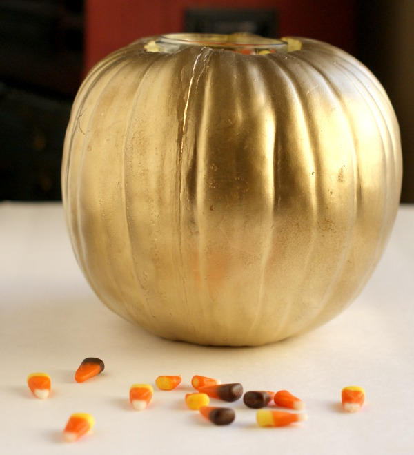 DIY Gold Pumpkin Candy Jar