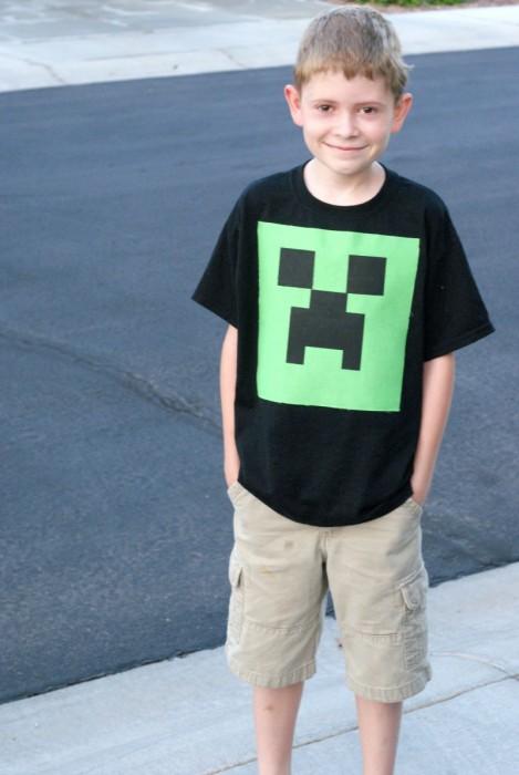 DIY Minecraft shirt made on the Cricut Explore
