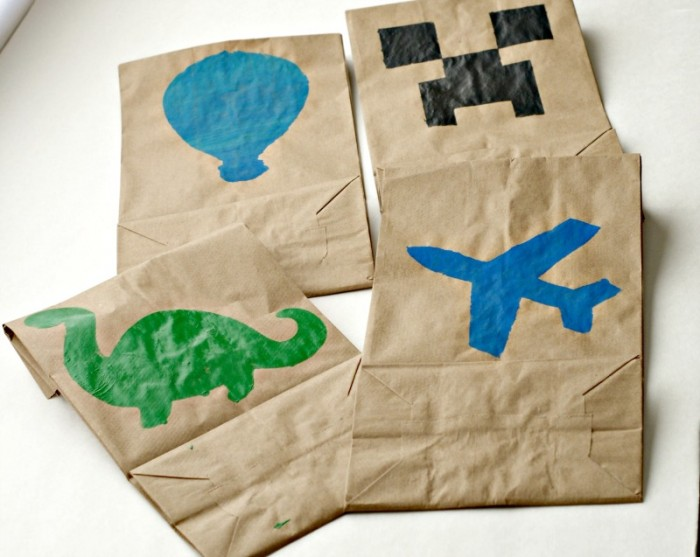 Stenciled lunch bags for boys