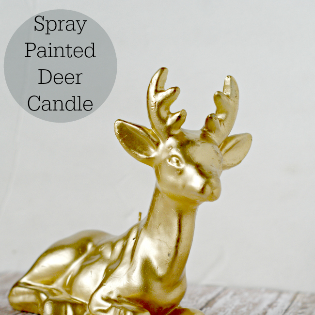 Spray Painted Deer Candle