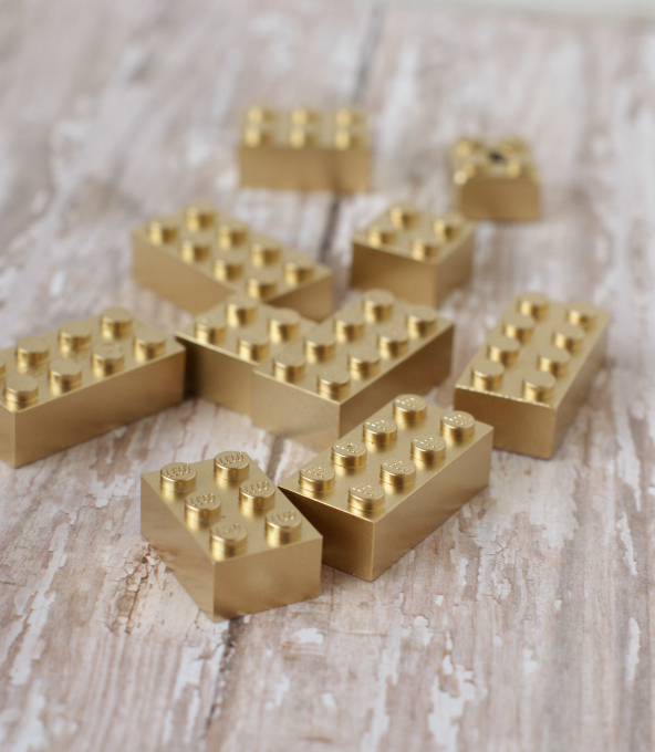 Spray paint Legos gold, super easy!