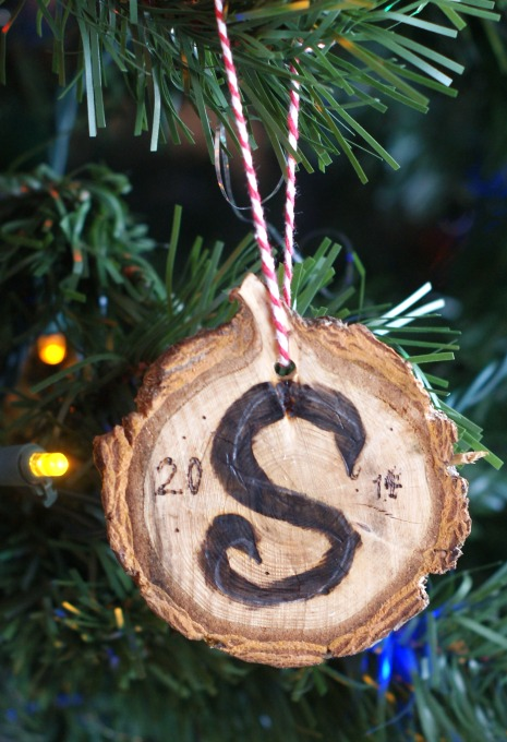 Monogram wood slice ornament