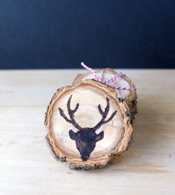 Wood Burned Deer Wood Slice Coasters
