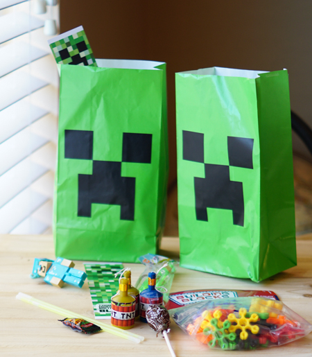 Goodie bags for Minecraft party