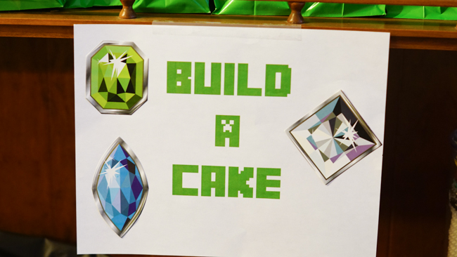 Minecraft Party cake section