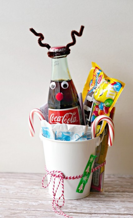 Quick and Easy Christmas Gift; Redbox Giftcard, Coca-Cola Reindeer, Candy, Popcorn and Hot Cocoa!