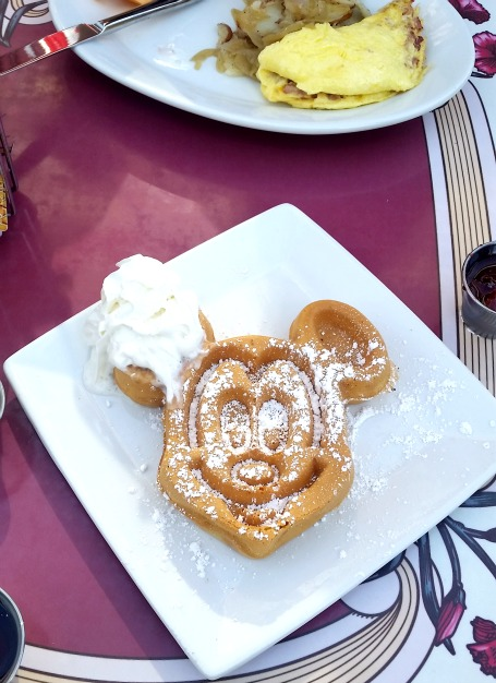 Mickey Mouse Belgium Waffles at Carnation Cafe in Disneyland