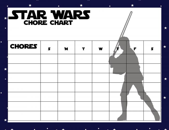 Star Wars Chore Chart - Jedi