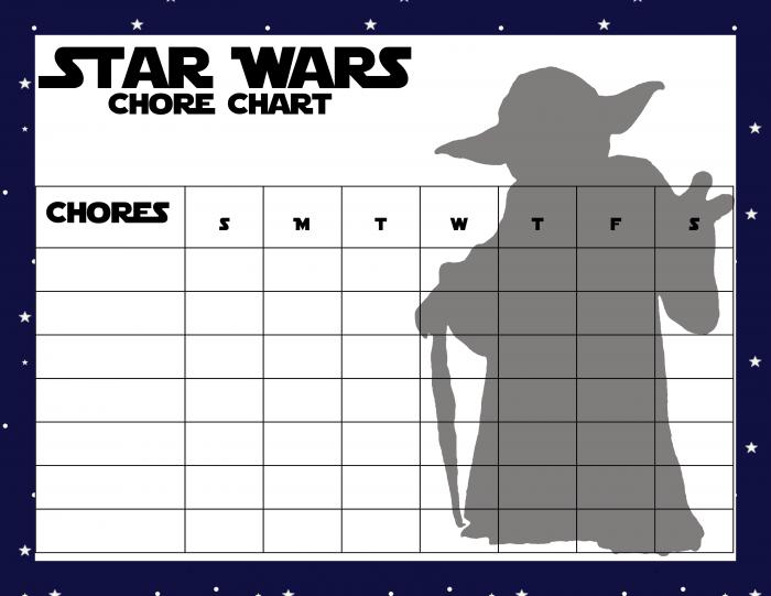 Star Wars Chore Chart - Yoda