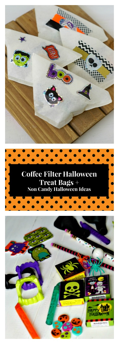 Coffee Filter Halloween Treat Bag and Non Candy Halloween Ideas